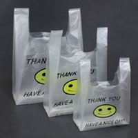 Wholesale Small Supermarkets - High quality transparent smile vest Bag convenient bags packing plastic bag small medium and large supermarket shopping bag