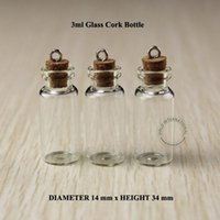 Wholesale Test Tube Pendant - 3ml Mini small glass bottles vials jars with corks decorative corked glass test tube bottle with cork for pendants mini 50pcs