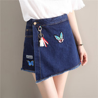 Wholesale Sexy Jeans Skirts - Sexy Culottes New Pattern Micro Mini Skorts Short Jeans Skirt for Sweet Girl Two Colors Embroidery Hang Flash Decoration Patchwork Low Rise