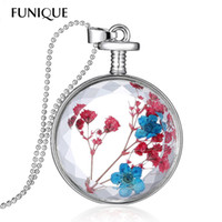 Wholesale Faceted Cabochon - Wholesale-FUNIQUE Genuine Dried Flower Pendant Necklace Styish Round Resin Cabochon Faceted Crystal Women Necklace Float Locket Living