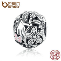 Wholesale Pandora Lights Pink - Pandora Style New Collection 925 Sterling Silver Dazzling Daisy Fairy Charms fit Pan Bracelet with Light Pink Enamel & Clear CZ PAS315