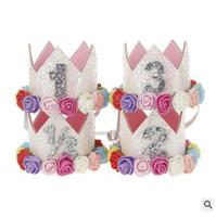 fotos de ropa de bebé al por mayor-Princesa cumpleaños sombrero diadema lentejuelas rosa flores decoraciones del partido de la corona diadema para bebés y niñas Head Wear Photo Props 632