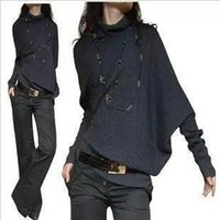 Wholesale Asymmetrical Batwing - Wholesale-new high -quality women's fashion shoulder asymmetrical collapse loose pullover sweaters
