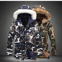 Wholesale 3xl Camo Jacket - Wholesale- New Arrival Top Fashion Winter Mens Thicken Camo Jacket Coat For Man Fur Hooded Cotton Padded Warm Outwear Male Parka Size S-5XL