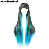 Wholesale Harajuku Wig Purple - WoodFestival women harajuku wig ombre black blue purple long straight wigs neat bangs synthetic fiber hair wigs
