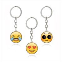 Wholesale Old Metal Keys - Emoji expression, smiley face time, gemstone key chain, metal glass pendant, key buckle, European and American ornaments Pendant