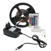 Wholesale Power Supply 16 - RGB LED Strip Light Non-Waterproof 3014 SMD Flexible RGB Lights Tape 24keys IR Remote Controller 12V 2A Power Supply