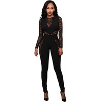 Wholesale Hot Women Wearing Lace - New Stylish Sexy Women Jumpsuit Hot Spring Long Sleeve Transparent Lace Patchwork Back Zip design Romper Night Club Wear S64235