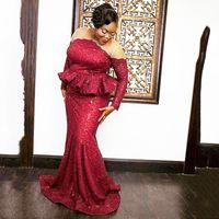 vestidos formales peplum al por mayor-Rojo oscuro más vestidos de noche magnitud escote Peplum lentejuelas de manga larga vestido de fiesta estilo sirena africana Ropa formal vestido de la madre