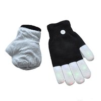 Wholesale Glove Light Finger - New LED Rave Gloves Mitts Flashing Finger Lighting Glove LED Colorful 7 Colors Light Show Black and White fast shipping