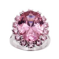 Wholesale gemstone ring online - Wedding Band Ring Sterling Silver Wedding Pink Topaz Kunzite Gemstone Crystal Sparkle Ring Size