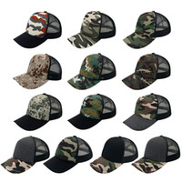 Wholesale Trucker Hat Style Men - 13 Colors 5 Panels Trucker Caps Hats Military Camouflage Camping Hat 100% Cotton Snapbacks Hats Fitted Styles for Men Women