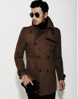 Wholesale Mens Slim Fit Pea Coats - Brown black 2017 new autumn winter Double breasted wool coat men fit slim mens pea coat woolen fashion handsome coats cashmere S - 3XL