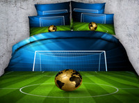 Design de moda Blue Green Football Field 3D Fabricado em tecido de cama de algodão conjuntos Twin Full Queen King Size Dovet Covers Pillow Shams Consolador