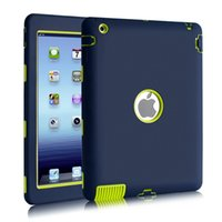Für Apple iPad 2 / iPad 3 / iPad 4 3 in 1 Hybrid Armor Gummi Shockproof Heavy Duty Hard Case Cover Display Schutzfolie + Stylus Pen