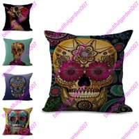 Wholesale Skull Seat Covers - Lovely Suger Skull Cushion Cover 45*45cm Linen Female Undead Pillowcase Decorative Seat Cushions For Living Room Bed Room sofa pillow cover