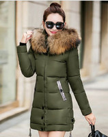 Wholesale Worsted Coat For Women - TOP Quality Large Real Fur Winter Jacket Women Fur Collar Hooded Thick Down Coat For Women Winter Parka Hooded Parkas Stand Collar Coat