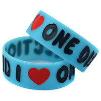 Wholesale One Direction Glow - Wholesale Shipping 50PCS Lot I Love 1D One Direction Silicone Wristband Bracelet Glow In Dark Promotion Gift