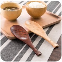 Wholesale Wood Fish Carving - Wholesale- Japanese-style hand-carved wooden spoon straight Phoebe Fish, creative dishes rice shovel spoon rice