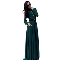 Wholesale Long Sleeve Evening Wear Wholesalers - Wholesale- Autumn Women Long Maxi Dresses Long Sleeve Slim Floor-length Gown Evening Party Wear