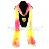 Wholesale Summer Pendant Scarves - Cool Summer Fashion Women Voile Heart Pendant Scarf Shawl Wrap Jewelry Necklace Scarf Free Shipping SC0077