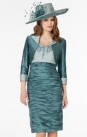Wholesale Short Sleeves For Dresse - 2017 Spring Sheath With Jacket Mother Of Bride Dresses Knee Length Appliques Ruched Formal Dress For Wedding Mother Groom Dresse