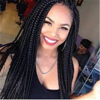Wholesale Hair Wigs Uk - UK US EU Epacket to brazil BOLETO brazilian hair wigs braided lace front wigs 22inch 3x box braids black synthetic wigs for women
