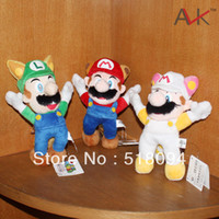 "Wholesale Luigi Fire Toys - Wholesale- 3pcs lot Free Shipping Super Mario Bros Raccoon Tanooki Mario Kitsune Fox Luigi White Racoon Fire Mario Plush Toy 8""20CM SMPD165"