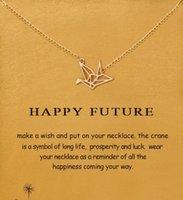 Wholesale Crane Ship - With card! silver and gold color, cute Dogeared Necklace with Paper crane (happy future) , no fade, free shipping and high quality