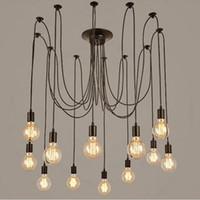 diy modern aydınlatma toptan satış-Modern vintage ışıkları avize kolye aydınlatma tutucu grubu Edison diy aydınlatma lambaları fenerler aksesuarları messenger tel