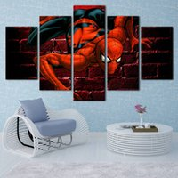 More Panel cartoon spider pictures - No frame Spider man series HD Canvas print Panel Wall Art City Oil Painting Textured Abstract Pictures Decor Living Room Decoration