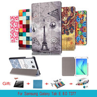 "Wholesale Cute Galaxy Tablet Cases - Cute Stand PU Leather Protector Case Skin Cover For Samsung Galaxy Tab E 8.0 T377 SM-T377V T375 T3777 8"" Tablet PC"