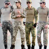 combinaison de combat tactique achat en gros de-Gen3 Tactique Combat Uniforme avec Pads Camouflage Chasse En Plein Air G3 Grenouille uniforme Airsoft vêtements Ensemble Hommes Chasse Chemise Pantalon Combat Suit