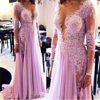 Wholesale Tiered Hi Lo Gown - Sheer Neck Prom Dresses Beads Lace Appliques Scoop Plunging Long Sleeves Evening Gowns Split Chiffon Special Occasion Dress Evening Wear