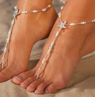 Wholesale Toe Rings Chains - Fashion Pearls Barefoot Beach Sandals For Weddings Crystals Starfish Anklets Chain Cheap Toe Ring Bridal Bridesmaid Foot Jewelry