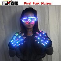 Gants d'éclairage à changement de couleur LED Hallowamas Stage Props Flash Rivet Punk Glasses for Holiday Party Events Shows