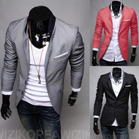 Wholesale Casual Cargo Jacket - Wholesale- 3 Color New Male Casual Suit Men's Solid Color Two Button Suit Men's Suit Jacket Size Large Cargo Skinny Slim Fashion Clothing
