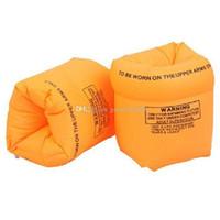 flotador inflable de la nadada del bebé al por mayor-Nuevo bebé adulto natación banda del brazo del brazo flotante inflable mangas de seguridad de PVC bolsas de aire dobles 2 colores C2407