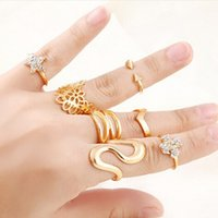 Wholesale 14k Gold Stacking Rings - 7pcs set Hollow Flower Star S-Shape Rhinestone Knuckle Midi Finger Stacking Rings Fashion Designed Exquisite Rings Set Free DHL D4S