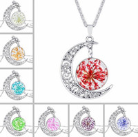 Wholesale Order Glass Flowers - High quality Jewelry glass dried flowers moon gem necklace WFN169 (with chain) mix order 20 pieces a lot
