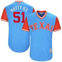Wholesale Bush Lights - Texas Rangers #51 Matt Bush Matty Ice 2017 Little League World Series Players Weekend Authentic Baseball Jerseys Light blue