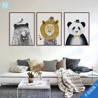 9pcs / lot Northern Europe Style Animals Poster Print Modern Home Wall Art Decor Canvas Painting QS0001