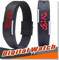 reloj de goma de silicona deporte al por mayor-LED reloj de pulsera digital ultra delgado rectángulo deportes al aire libre impermeable gimnasio corriendo pantalla táctil pulseras cinturón de goma pulseras de silicona