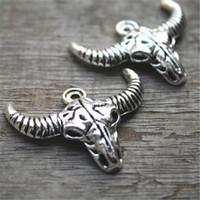 Wholesale Wholesale Longhorns - 10pcs-Longhorn Charms, Antique Tibetan silver Cattle Skull charm pendants 36x28mm