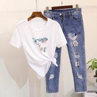 Wholesale Birds Tshirt - Wholesale- 2017 New Spring Summer Women 2 Pieces Jeans Suits Beading Sequins Birds Tshirt Cotton Tops Jeans Pants Set Women 2 Pieces Set