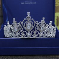 Wholesale High End Crowns Tiaras - High - end luxury Europe and the United States all zircon bridal headdress wedding big crown hair ornaments wedding dress accessories wholes