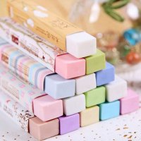 Wholesale Erase Rubber - Wholesale-5Pcs Cube Pencial Kawaii Eraser Cute School Supplies Stationery Erasers Correction Erase Goods for Office Accessories