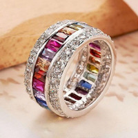 Wholesale 925 Mans Ring Sapphire - Eternal SAPPHIRE RUBY PERIDOT KUNZITE TOPAZ 925 Sterling Silver Engagement Wedding Rings for Women Men size 5 6 7 8 9 10
