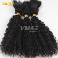 Wholesale Wet Wavy Braiding Hair - Human Braiding Hair Brazilian Virgin 3 Bundle Deals Crochet Braid Hair Brazilian Water Wave Braid In Bundles Wet And Wavy Hair