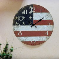 Wholesale Wholesale Home Decor Vintage Style - Kitchen Wall Clock Home Decor Vintage Wood Round Clocks Oversized Large Decorative Wall Clocks Retro Clock On The Wall